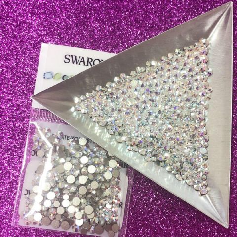 Mixed Pack of 300pc Swarovski Flatback Crystals, Non-Hotfix, Mix Of Sizes SS7/SS9/SS12. Crystal AB.